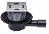 HL 510N Wpust stropowy DN40/50 z odejściem poziomym, zasyfonowaniem ramą nasadową 12 - 70 mm / 123 x 123 mm i kratką ściekową ze stali szlachetnej 115 x 115 mm.