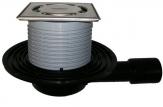 HL 90PR-3000 Wpust podłogowy DN40/50 poziomy z zasyfonowaniem PRIMUS, 121x121mm, Klick-Klack, 115x115mm