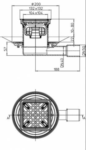 HL HL90Pr-3020 Wpust podłogowy DN50 poziomy NISKI z blokadą zapachów Primus i nasadą z ramką do wypłytkowania 132 x 132 mm/ 112 x 112 mm