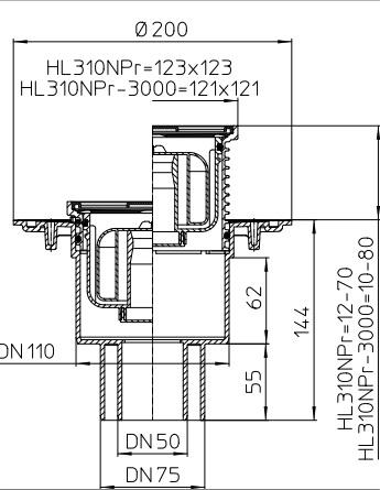 HL HL310NPr Wpust stropowy DN50/75/110 z odejściem pionowym z kołnierzem uszczelniającym, zasyfonowaniem PRIMUS , ramą nasadową 123x123mmmm i kratką sciekową ze stali szlachetnej 115x115mm