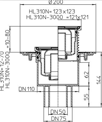 HL 310N Wpust stropowy DN50/75/110 z odejściem pionowym, z kołnierzem uszczelniającym, zasyfonowaniem, ramą nasadową 123x123mm i kratką sciekową ze stali szlachetnej 1115x115mm