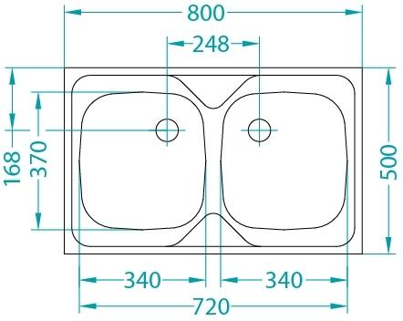 ALVEUS zlew 2 komorowy Compact 20 SPECIAL satyna 80x50cm