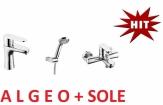 FERRO ALGEO zestaw baterii , umywalkowa + wannowa + zestaw natryskowy sole