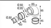 SAUNIER DUVAL system powietrzno spalinowy kolano 90^ 60/100