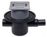 HL 300 Wpust stropowy DN50 z odejściem poziomym, dodatkowym dopływem DN40/50, ramą nasadową123x123mm i kratką ściekową ze stali szlachetnej 114x115mm i zasyfonowaniem jako zawór zwrotny