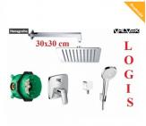HANSGROHE LOGIS kompletny  zestaw podtynkowy z deszczownicą VALVEX CARRE 30 X 30 CM