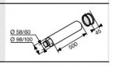 SUNIER  DUVAL rura wylotowa przedłużenie wyjścia podstawowego 0,5 m 60/100