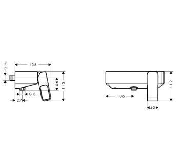 Axor Urquiola Jednouchwytowa bateria prysznicowa DN15, montaż natynkowy CHROM