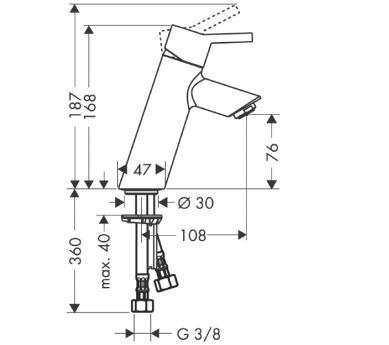 Talis S² Jednouchwytowa bateria umywalkowa DN15 bez otworu na cięgło i kompletu odpływowego CHROM
