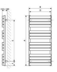 TERMA-GRZEJNIK WARP T 655x600 Z8 S96