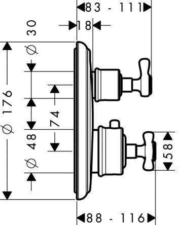 Axor Montreux Bateria termostatowa podtynkowa z zaworem odcinającym, element zewnętrzny nikiel szczotkowany