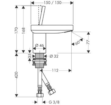 Axor Starck X Jednouchwytowa bateria umywalkowa, 100 mm, bez umywalkowego kompletu odpływowego CHROM