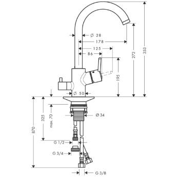 Talis S² Variarc, jednouchwytowa bateria kuchenna DN15 chrom _