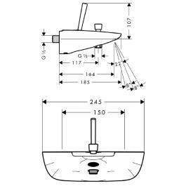 HANSGROHE PuraVida Jednouchwytowa bateria wannowa, montaż natynkowy