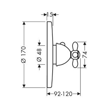 Axor Carlton Bateria termostatowa podtynkowa High Flow, z uchwytem krzyżowym, element zewnętrzny chrom złoto