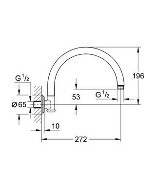 GROHE RAINSHOWER RAMIĘ DESZCZOWNICY WYGIĘTE L-272 mm DN15 CHROM