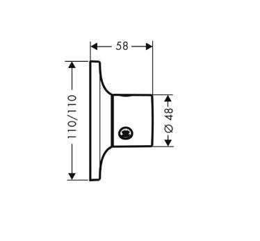 Axor Massaud Trio/Quattro, element zewnętrzny DN 20, montaż podtynkowy chrom