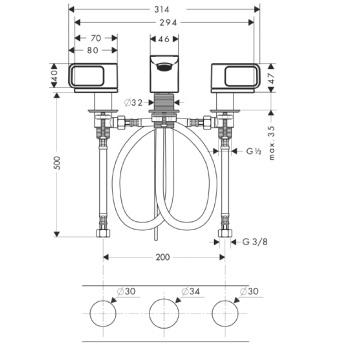 Axor Urquiola 3-otworowa bateria umywalkowa z rozetami CHROM