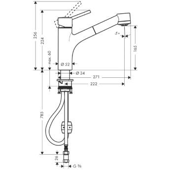 Talis S Jednouchwytowa bateria kuchenna DN15 chrom _