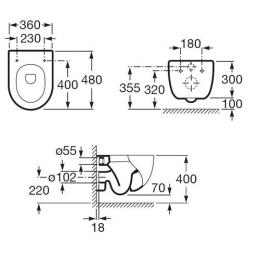ROCA Meridian-N - Miska WC podwieszana Compacto