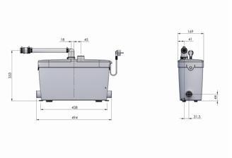 SFA POMPA DO SCIEKÓW SANIACCESS 4 kuchnia, pralnia, łazienka (bez WC); moc urz. 400 W, temp. pracy 75º