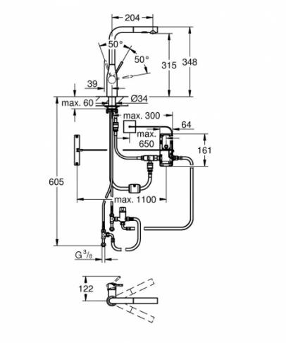 GROHE Essence Foot Control Elektroniczna jednouchwytowa bateria zlewozmywakowa, DN15 STAL NIERDZEWNA