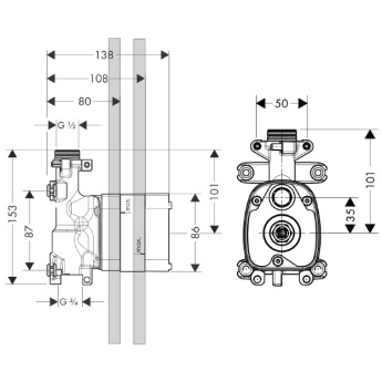 Axor Starck Zestaw podtynkowy do modułu z główką prysznicową DN15