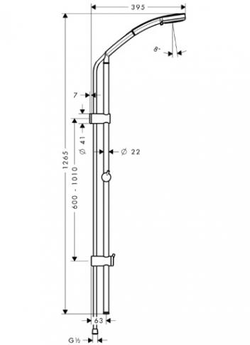 Zestaw Croma 100 Multi/Unica'Reno Lift 1,05 m DN 15 chrom