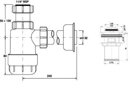 FERRO + MCALPINE zestaw odpływowy plastyk z korkiem mosiężnym KLIK-KLAK