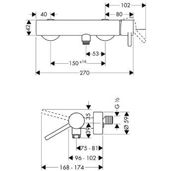 Axor Starck Jednouchwytowa bateria prysznicowa DN15, montaż natynkowy chrom