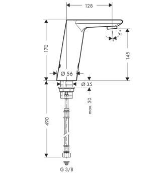 Metris S Samoczynna bateria umywalkowa na podczerwień Metris S Electronic CHROM
