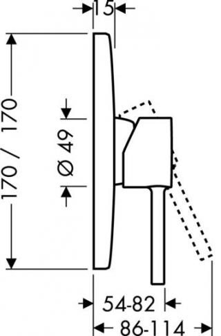 Axor Starck X Jednouchwytowa bateria prysznicowa podtynkowa, element zewnętrzny chrom