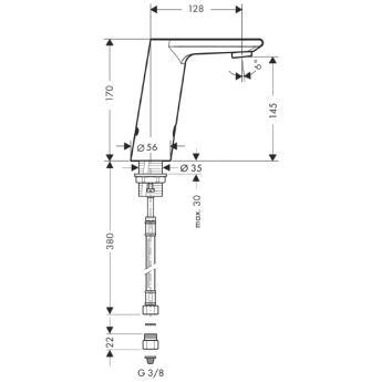 Metris S Samoczynna bateria umywalkowa na podczerwień Metris S Electronic CHROM_