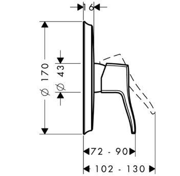 Metris Classic Jednouchwytowa bateria prysznicowa podtynkowa, element zewnętrzny chrom