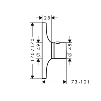 Axor Massaud Bateria termostatowa podtynkowa High Flow, element zewnętrzny chrom