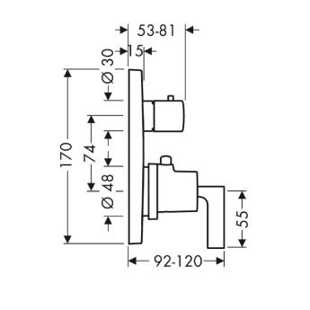 Axor Citterio Bateria termostatowa podtynkowa z zaworem odcinająco-przełączającym, z uchwytem jednoramiennym, element zewnętrzny chrom