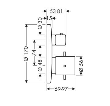 Axor Starck Bateria termostatowa podtynkowa, z zaworem odcinającym, element zewnętrzny chrom