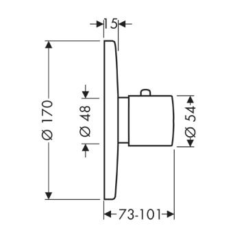 Axor Uno Bateria termostatowa DN15/DN 20, element zewnętrzny z termoelementem chrom
