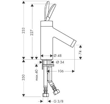 Axor Starck Jednouchwytowa bateria umywalkowa Classic, bez umywalkowego kompletu odpływowego CHROM