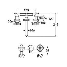ROCA Dwuuchwytowa bateria umywalkowa ścienna Loft