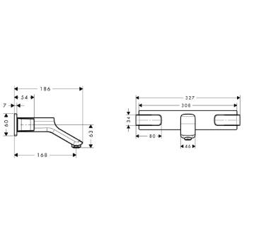 Axor Urquiola 3-otworowa bateria umywalkowa podtynkowa DN15 z krótką wylewką CHROM