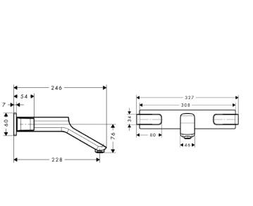 Axor Urquiola 3-otworowa bateria umywalkowa podtynkowa DN15 z długą wylewką CHROM
