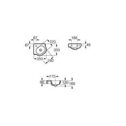 ROCA Meridian-N Umywalka ścienna narożna 35 x 35 cm