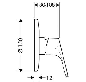 Focus E² Jednouchwytowa bateria prysznicowa podtynkowa, element zewnętrzny CHROM