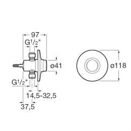 ROCA Sprint - Podtynkowy zawór ciśnieniowy do pisuaru z dopływem z tyłu Sprint-N