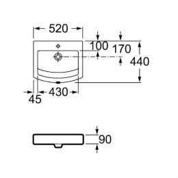 ROCA umywalka nablatowa Hall-Top 52x44 cm bez otworu na baterię