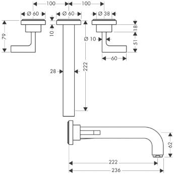Axor Citterio Trzyotworowa bateria umywalkowa ścienna podtynkowa z uchwytami jednoramiennymi, bez płytki z długą wylewką DN15 CHROM