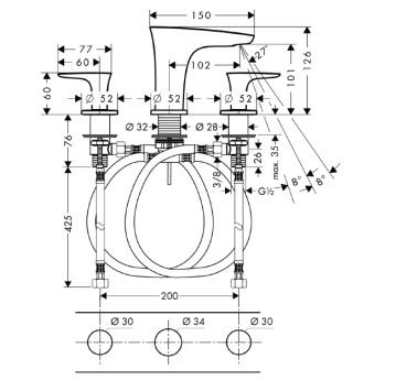PuraVida 3-otworowa bateria umywalkowa CHROM / BIAŁY