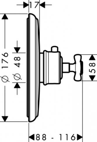 Axor Montreux Bateria termostatowa podtynkowa z uchwytem krzyżowym, element zewnętrzny chrom