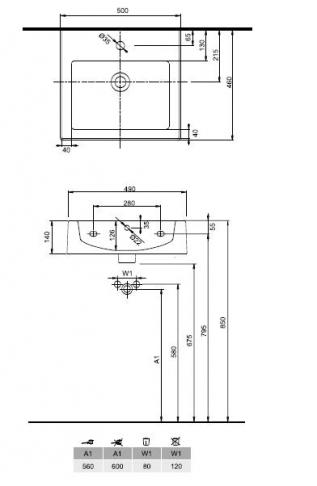 KOŁO Umywalka TWINS 50 cm, z misą prostokątną, z otworem